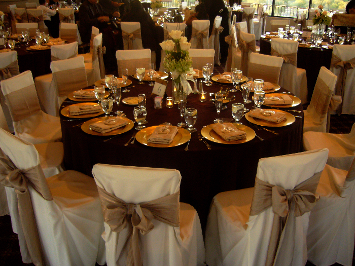 Beautiful Wedding Table Setting Chair Covers amp Bows My