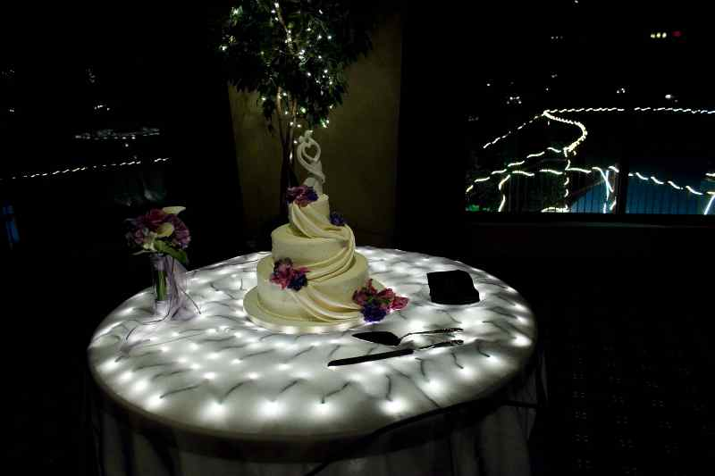 Illuminated Cake Table Here is a new look for the cake display