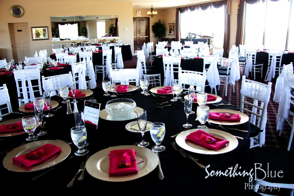 to your wedding reception is a simple Black on White with red napkins.