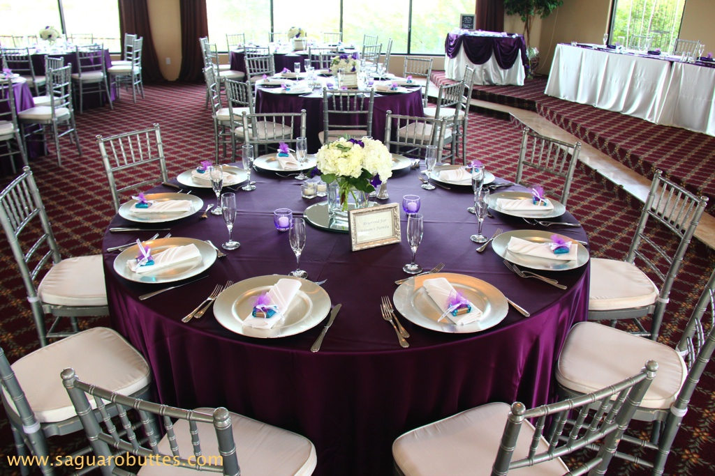 Satin Eggplant Linens With Ivory Wedding Colors My