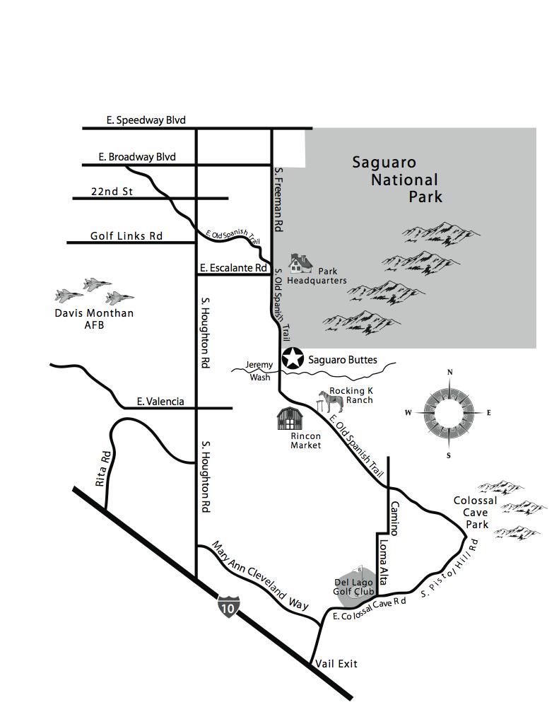 Tucson map Saguaro Buttes