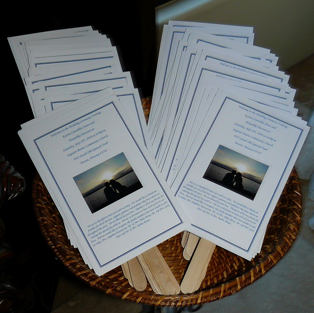wedding programs made into fans my tucson wedding