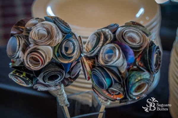 Bouquet made of rolled up Magazines.